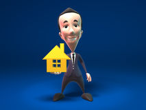 Propiedades inmobiliarias de las ventas del hombre de negocios Imagen de archivo