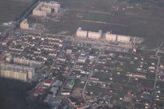 Propiedades inmobiliarias de una vista panorámica Desarrollo privado de edificios de varios pisos, Kiev, Ucrania, 09 de las cabañ Imagen de archivo libre de regalías