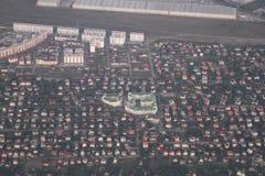 Propiedades inmobiliarias de una vista panorámica Desarrollo privado de edificios de varios pisos, Kiev, Ucrania, 09 de las cabañ Imágenes de archivo libres de regalías