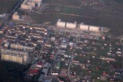 Propiedades inmobiliarias de una vista panorámica Desarrollo privado de edificios de varios pisos, Kiev, Ucrania, 09 de las cabañ Foto de archivo libre de regalías