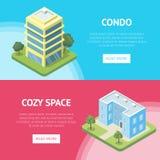 Propiedades inmobiliarias del condominio en aviadores de la ciudad ilustración del vector