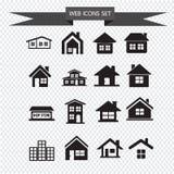 Propiedades inmobiliarias del icono de la casa fijadas para el sitio web Fotos de archivo libres de regalías