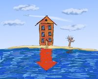 Propiedades inmobiliarias, depresión en precios Foto de archivo libre de regalías