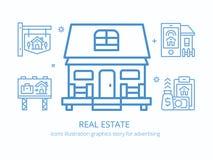 Propiedades inmobiliarias: gráficos del ejemplo de los iconos foto de archivo