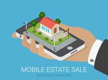 Propiedades inmobiliarias isométricas planas 3d infographic: venta de la casa del smartphone Imagenes de archivo