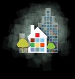 Propiedades inmobiliarias oscuras del paisaje de la ciudad Ilustración del Vector