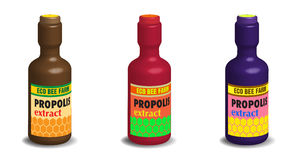 Propolis extract bottles. Three isolated bottles with the text propolis extract written on each bottle Royalty Free Stock Images