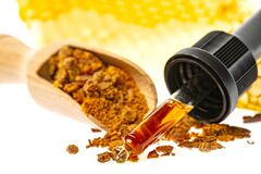 Free Propolis Tincture And A Wooden Spoon Of Propolis Granules Stock Photos - 171692703