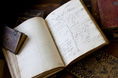 Proportion / Rule of Three Book. Handwritten School Text book c1668. The Rule of Three was a shorthand form of cross multiplication to explain proportions.In stock photos