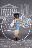 ProportionsModern educated intelligent Vitruvian man. Education concept stock illustration