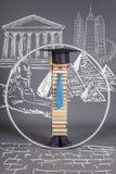 ProportionsModern educou o homem inteligente de Vitruvian Conceito da instrução ilustração stock