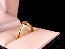 The Proposal. Diamond Engagement Ring in box Royalty Free Stock Photography