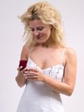 Proposal. Blond woman receiving a proposal ring royalty free stock photography