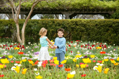 The Proposal. In the Garden of youth love blooms young. Two children, boy and girl, holding hands in a beautiful garden Stock Photos