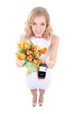 Proposal concept - smiling woman with tulips and little gift box Royalty Free Stock Photos