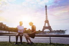 Proposal at Eiffel Tower Stock Images