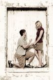 Proposal in grunge doorway Stock Images