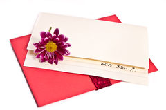 Proposal letter with a flower Royalty Free Stock Photo