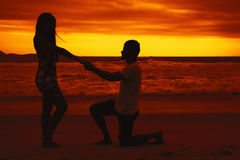 Proposal of marriage of a kneeling man on sunset Royalty Free Stock Photo