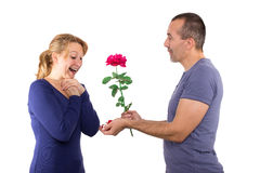 Proposal of marriage. With a rose and a ring Stock Photos