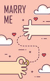 Proposal marriage. Thin line flat design banner for engagement day. Marry me. Background with hands, ring and hearts. Vector Royalty Free Stock Images