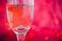 Proposal with ring in champagne glass Stock Photo