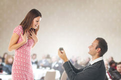 Proposal scene. Romantic proposal scene with happy women and man royalty free stock images