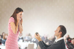 Proposal scene. Romantic proposal scene with happy women and man royalty free stock photography