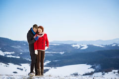 Proposal in the snow Stock Images