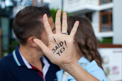 Proposal in the street. Woman said yes. Young romantic couple enjoying life royalty free stock photo