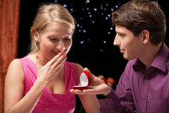 Proposal surprise for girlfriend Royalty Free Stock Photography