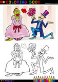 Proposal to monster for coloring. Coloring Book or Page Cartoon Illustration of Man making a Proposal to Monster Lady Fairytale Characters Stock Images