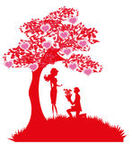 Proposal wedding - couple silhouette Royalty Free Stock Images
