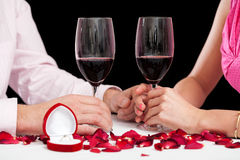 Proposal wine glasses Stock Image
