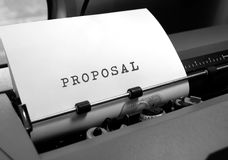Proposal written on white paper. Business theme royalty free stock image
