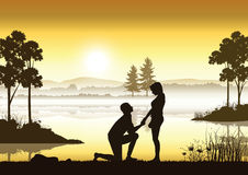 Propose marriage a river, Vector illustrations Stock Images