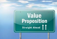 Proposição do valor do letreiro da estrada ilustração do vetor