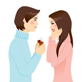 Proposing Marriage. Handsome man proposing marriage with diamond engagement ring to surprised woman vector illustration