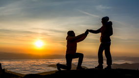 Proposing in the sunrise Royalty Free Stock Photo
