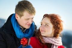 Proposition dans la neige Photo stock