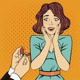 Proposition de mariage enclenchement Femme étonné Bruit Art Banner illustration libre de droits