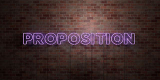 PROPOSITION - fluorescent Neon tube Sign on brickwork - Front view - 3D rendered royalty free stock picture Stock Image