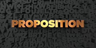 Proposition - Gold text on black background - 3D rendered royalty free stock picture Royalty Free Stock Photography