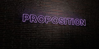 PROPOSITION -Realistic Neon Sign on Brick Wall background - 3D rendered royalty free stock image Royalty Free Stock Images