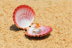 Proposta de união Anel de noivado nos shell na areia em t Imagens de Stock Royalty Free