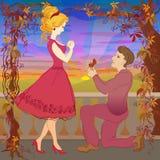 Proposta di unione Elasticità Ring To His Girl dell'uomo Immagini Stock Libere da Diritti