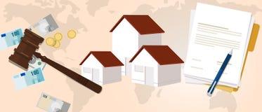 Propriété logeant l'argent juridique juridique d'investissement de loi de marteau de justice en bois à la maison de marteau illustration libre de droits