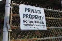 Propriété privée aucun signe de infraction Photo stock