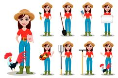 Propriétaire d'un ranch gai de femme de jardinier, ensemble de neuf poses illustration libre de droits