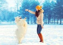 Propriétaire heureuse de femme avec le chien blanc de Samoyed jouant en hiver Photographie stock libre de droits